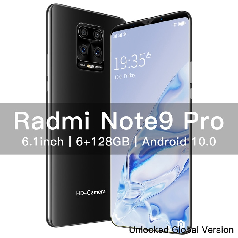 New Mobile Phone Note 9 Pro 6.1 inch 4800 Battery 8+13MP Camera Global Version Smartphones 6G 128GB Unlocked Android Phone