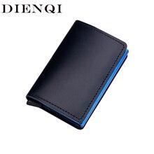 DIENQI antivol en cuir véritable hommes porte-cartes de crédit ID daffaires banque porte-cartes portefeuille automatique RFID porte-carte en Aluminium