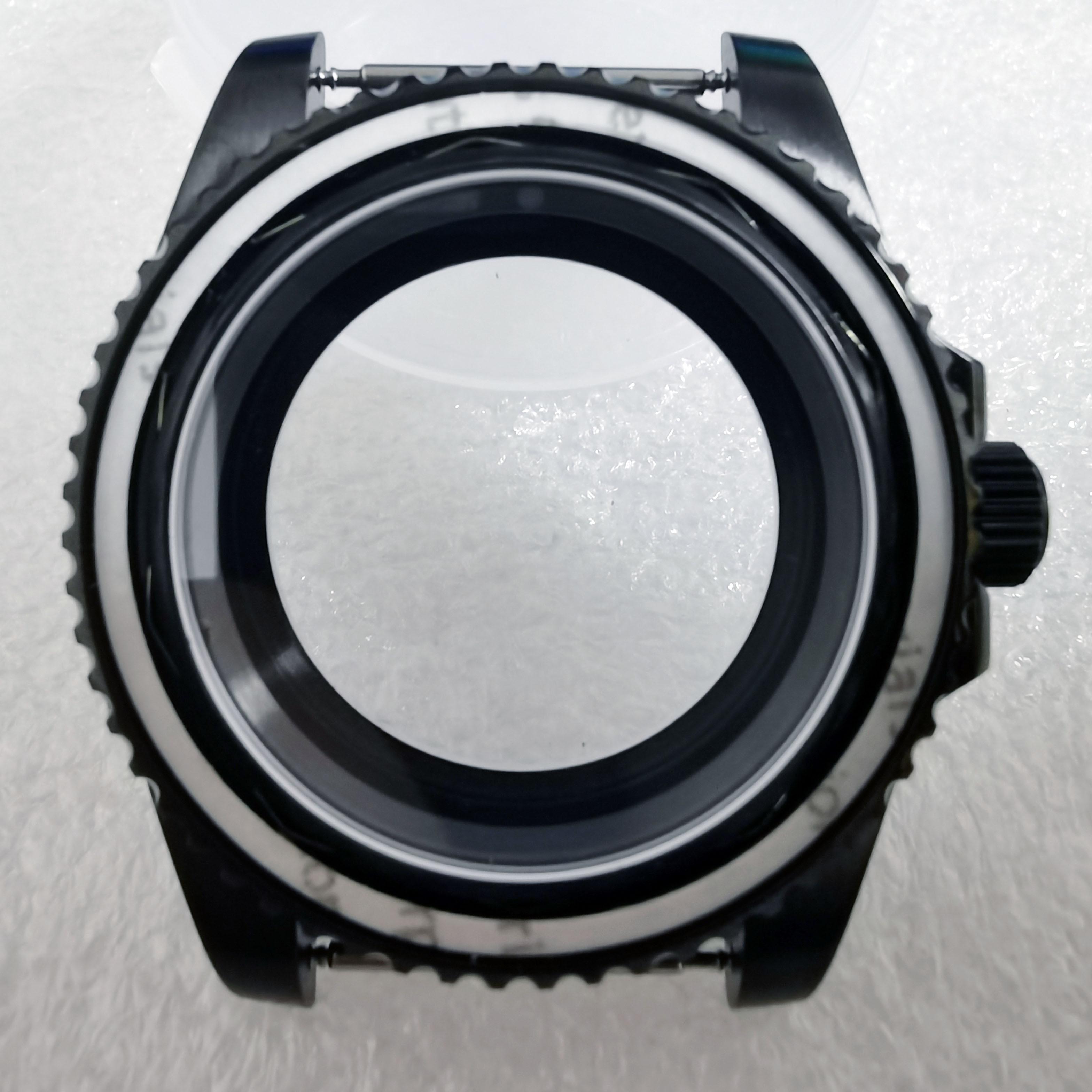 علبة ساعة من الياقوت والزجاج ، 40 مللي متر SS 100 م ، إطار أسود ، مناسب لـ Nh35 ، الحركة الميكانيكية ، الغوص ، 10atm