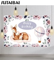 cute deer happy birthday party custom backdrop hot air balloon flowers baby shower photo background banner photography studio