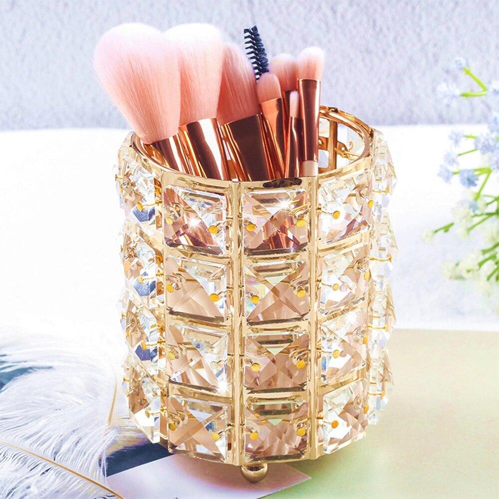 DOZZLOR Europa Metal brocha de maquillaje tubo de almacenamiento ceja lápiz titular maquillaje organizador estantes de cristal joyería caja de almacenamiento