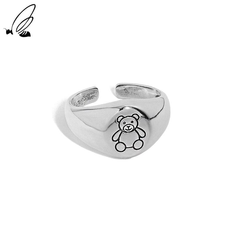 Женское кольцо с изображением медведя из серебра 925 пробы