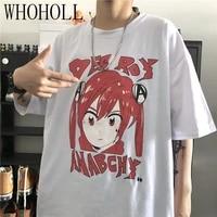 whoholl t shirts women gothic cartoon acg girl print short sleeve t shirt mens women summer harajuku loose short sleeve top