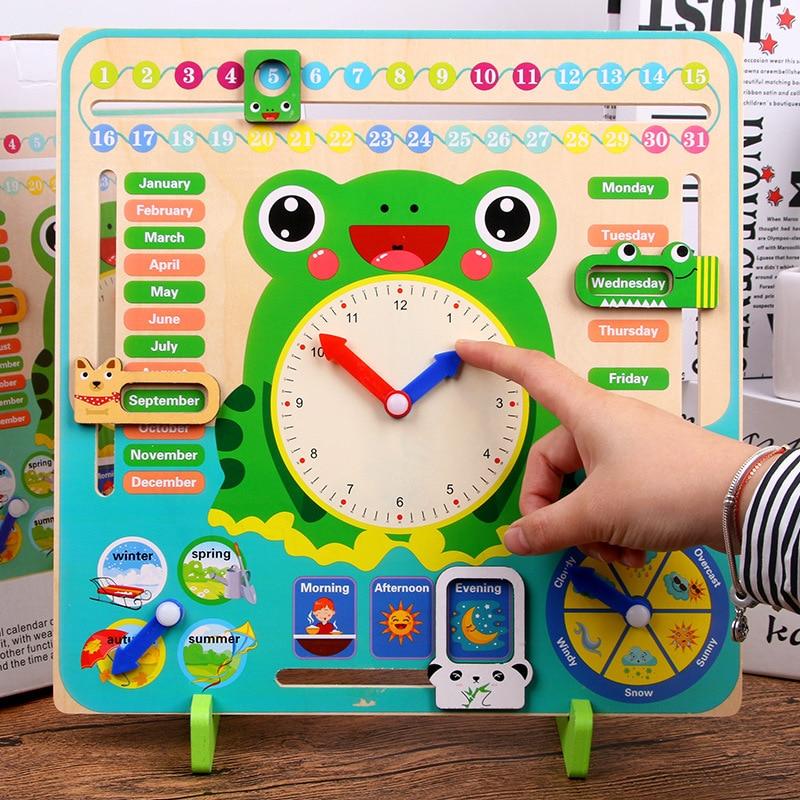 Montessori Wooden Toy Cartoon Frog Calendar learning Clock Set Baby Weather Season Cognition Preschool Kids Early Education Toys