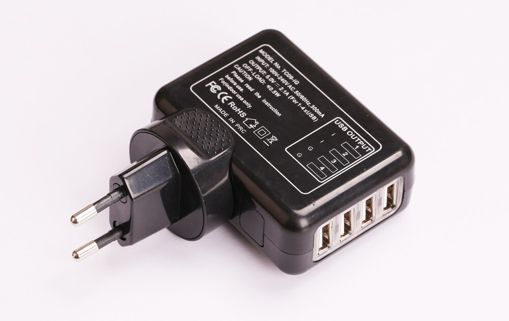 Cargador USB 5V 2.1A 4 puertos cargador Universal de pared AC cargador de emergencia de viaje US UK EU AU enchufe convertidor opcional
