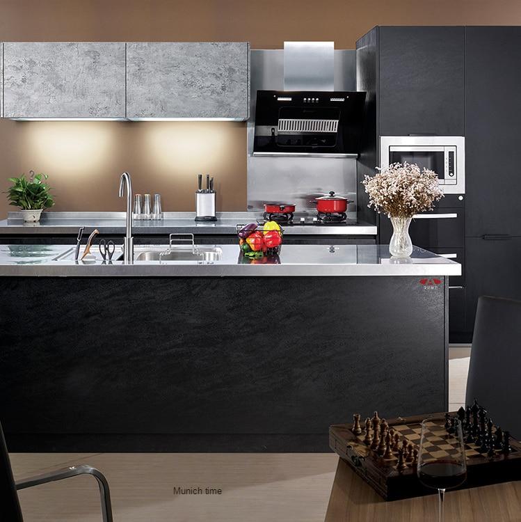 تجميعها معالجة خزانة لون مخصص الفولاذ المقاوم للصدأ خزانة مطبخ المطبخ الديكور خزانة شاملة