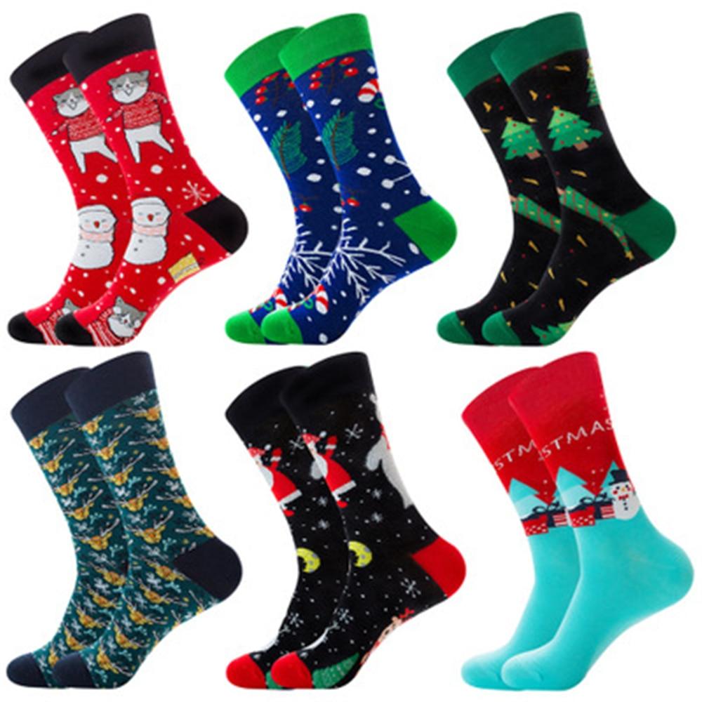 Elk, Happy Cat, Christmas Candy, Santa Claus, Snowman, Christmas Tree, Snowflake, Gift, Red Elk, Male Midstream socks ZQ026 недорого