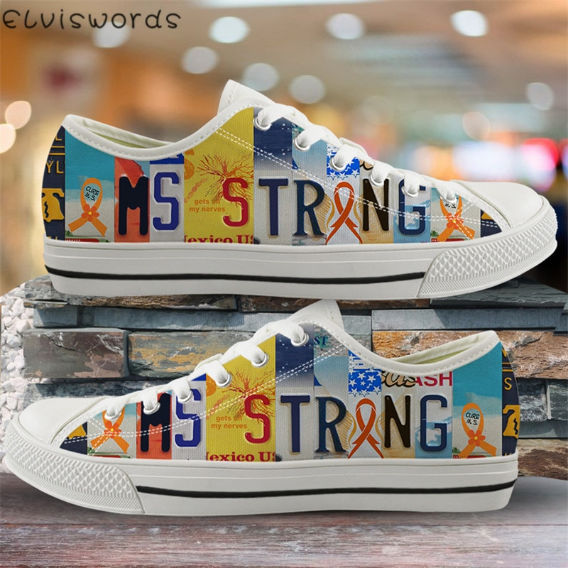 ELVISWORDS primavera Mujer Zapatos vulcanizados autismo concientización diseño ligero zapatos de lona para el ocio femenino zapatillas con cordones
