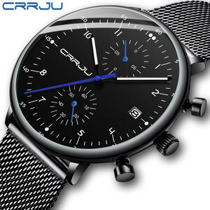 CRRJU Top Brand Luxury Quartz Watch Men's Business Sports Watches Men Auto Date Chronograph Clock Wristwatch Relogio Masculino