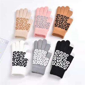 Creative Fashion Leopard Printing Gloves Mobile Phone Touch Screen Knitted Gloves Winter Thick & Warm Adult Gloves Men Women New