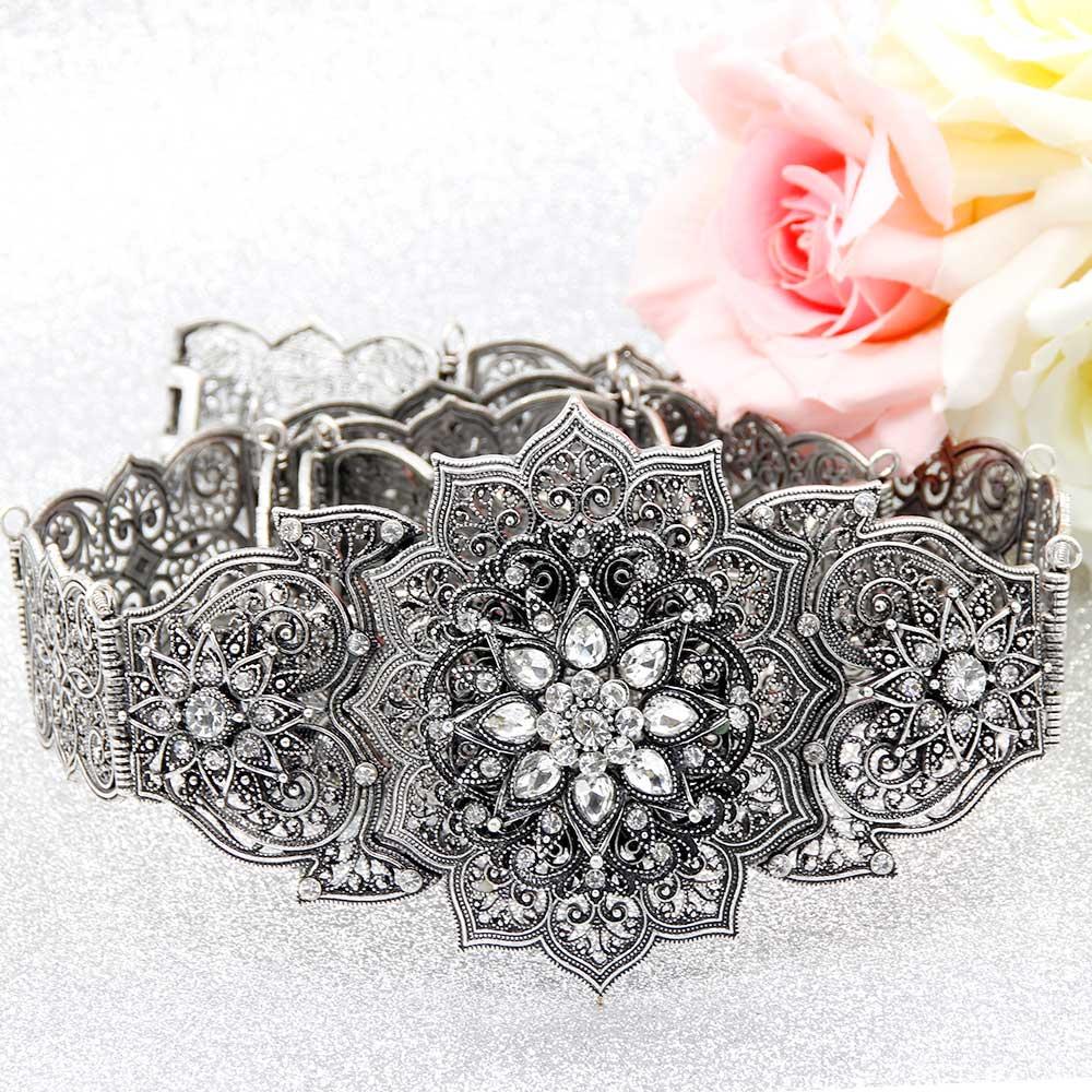 Sunspicems retro prata cor cáucaso cinto para mulheres strass metal link da cintura corrente ajustável comprimento jóias de casamento