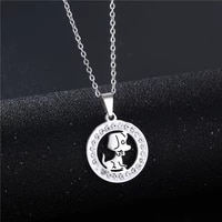 fashionable geometric full diamond zodiac dog pendant stainless steel pottery clay diamond couple necklace jewelry