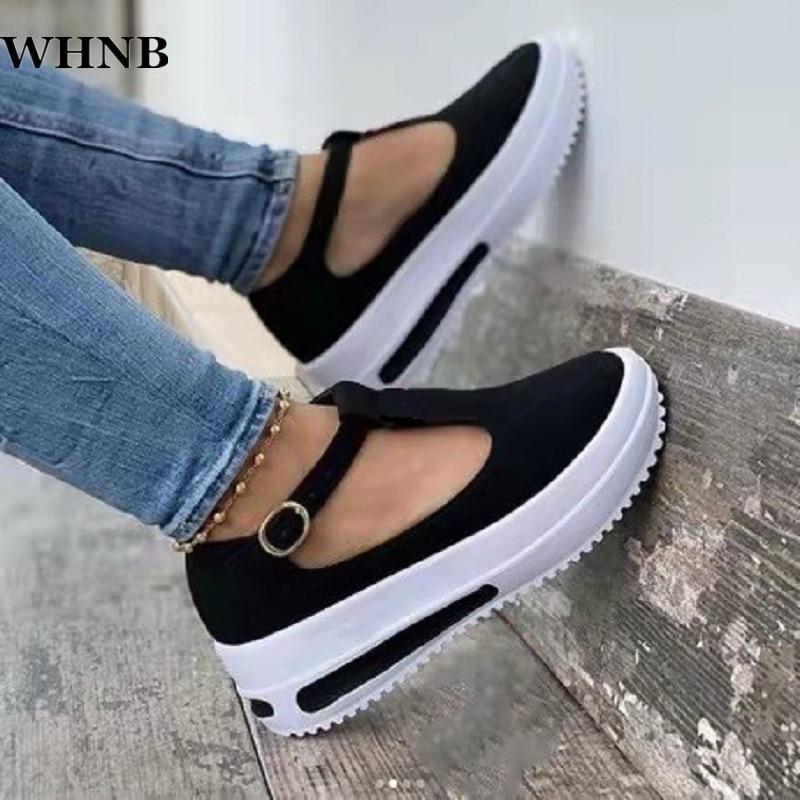2021 New Summer Women Flat Fashion Buckle Strap Platform Flat Casual Ladies Shoe Casual Women Vulcanize Shoes Zapatos De Mujer