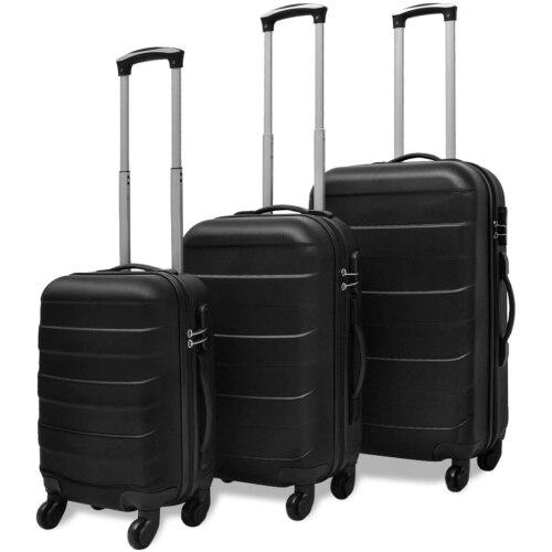 【USA Warehouse】3 Piece Hardcase Trolley Set Black