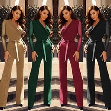 New V-neck Collect Waist Stitching Polka-dot Long-sleeved Jumpsuit for Women Autumn Clothes Slim Fit