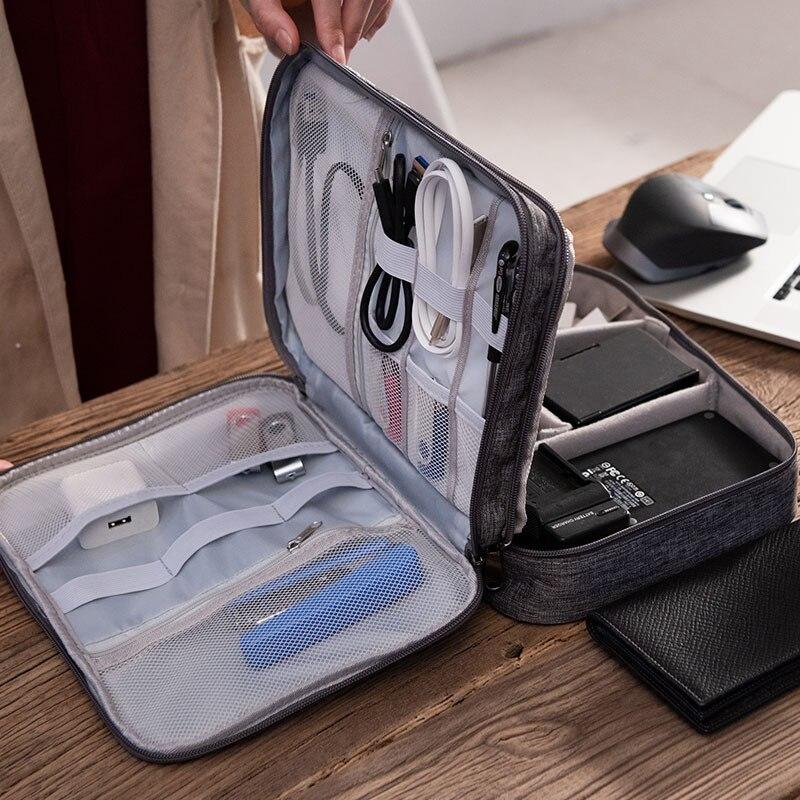 Bolsa de almacenamiento Digital de tres capas para auriculares, estuche de viaje...