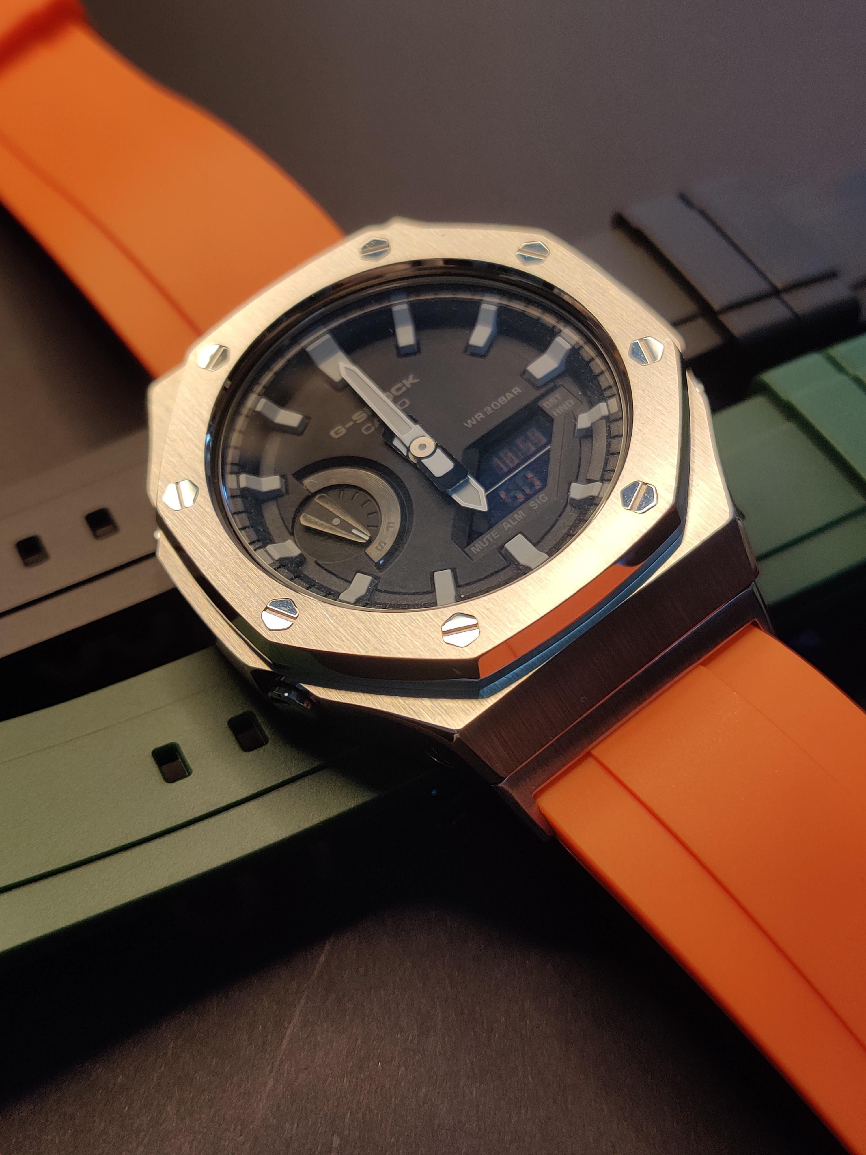 Hontao GA2100 2rd Generation Casioak Mod Metal Bezel GA2110 Watch Strap Adapter Fluorine Rubber Watch Band for GA-2100/2110 enlarge