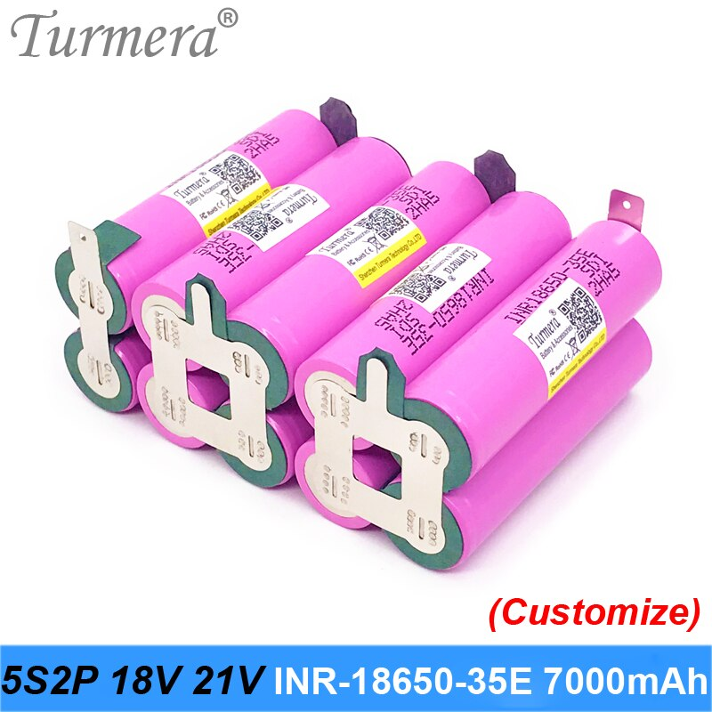 Turmera 18V 21V 18650 batería 5S2P INR18650-35E 7000mAh 15A batería de soldadura para destornillador Shura personalizada