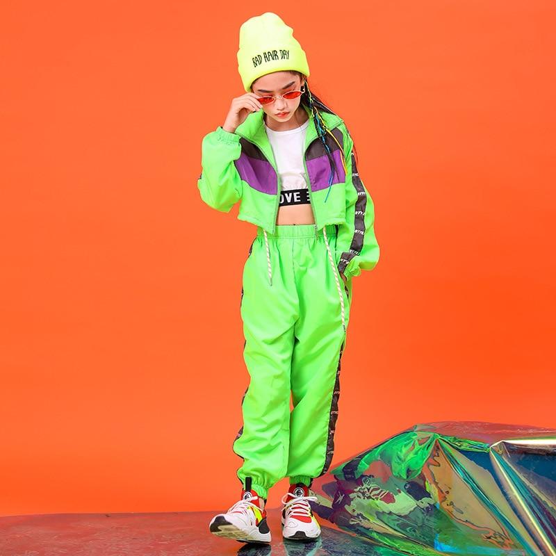 2021 de Los niños de Moda Verde Hip Hop ropa chaqueta de...