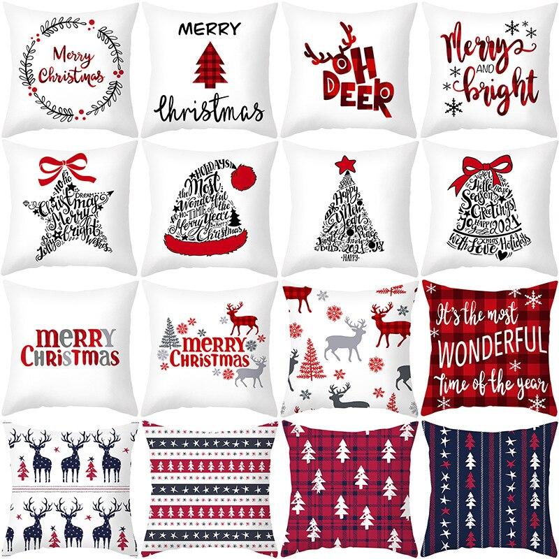 45cm Frohe Weihnachten Kissen Kissenbezug 2021 Hause Dekorationen Für Weihnachten Noel Ornament Frohes Neues Jahr
