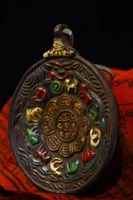 4tibet temple collection old bronze tracing eight treasures zodiac pendant amulet town house exorcism ward off evil spirits