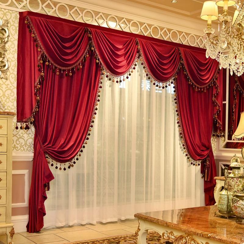 ستائر مخملية على الطراز الأوروبي ، رأس ستارة لغرفة المعيشة ، غرفة نوم ، زواج ، نافذة خليج ، تنورة مخصصة