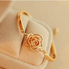 Fashion wholesale gold rose Flower Heart Bracelet Top Quality open bracelet cute yellow flower brace