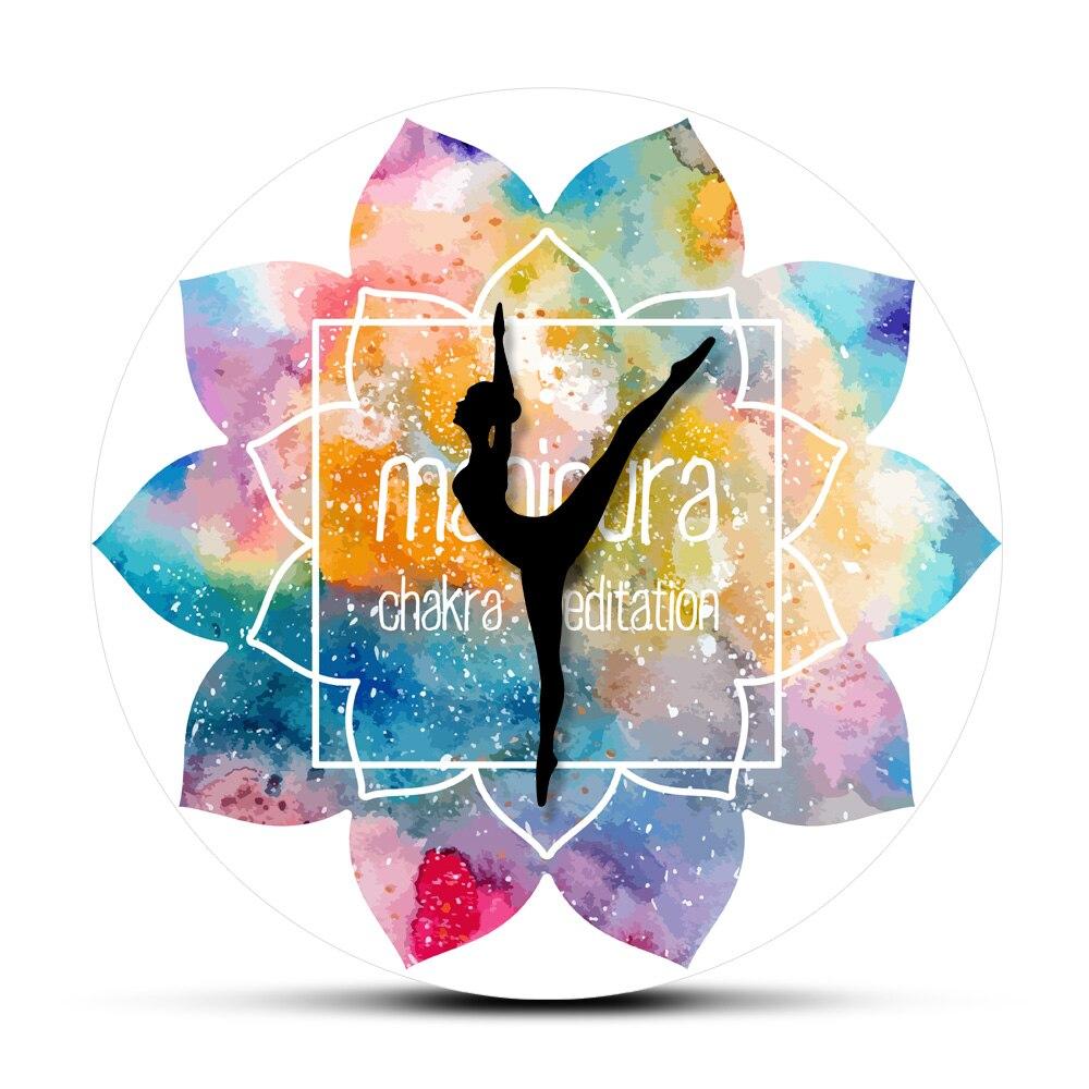 Чакра Манипура иглы для йоги напечатанные настенные часы Анахата медитация Акварельная живопись Мандала шаблон искусство настенные Висяч...