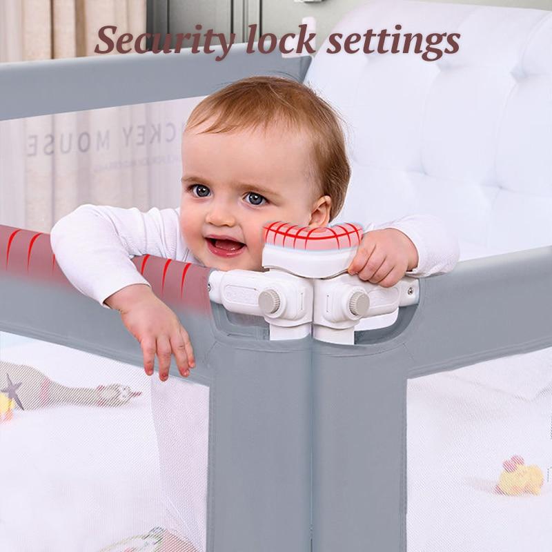 Babyinner Baby Bed Barrier Fence Adjustable Infants Crib Bumper Protector Anti Falling Safety Guardrail Foldable Newborn Playpen enlarge