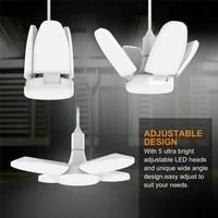 E27 LED Bulb Fan Blade 60W 30W 45W LED Garage Light Deformable Foldable Ceiling Fan Light Home Workshop Warehouse Ceiling Light
