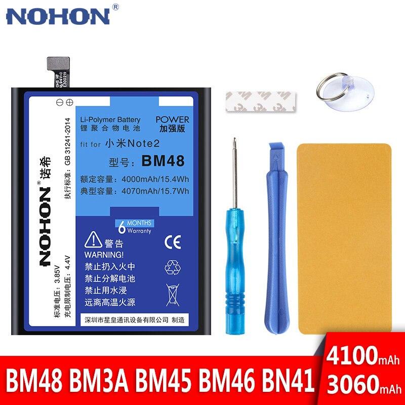 NOHON, batería para Xiaomi Mi Note 2 3, Redmi Note 2, Note 3, Note 4, BM48, BM3A, BM45, BM46, BN41, reemplazo de baterías de teléfono de alta capacidad