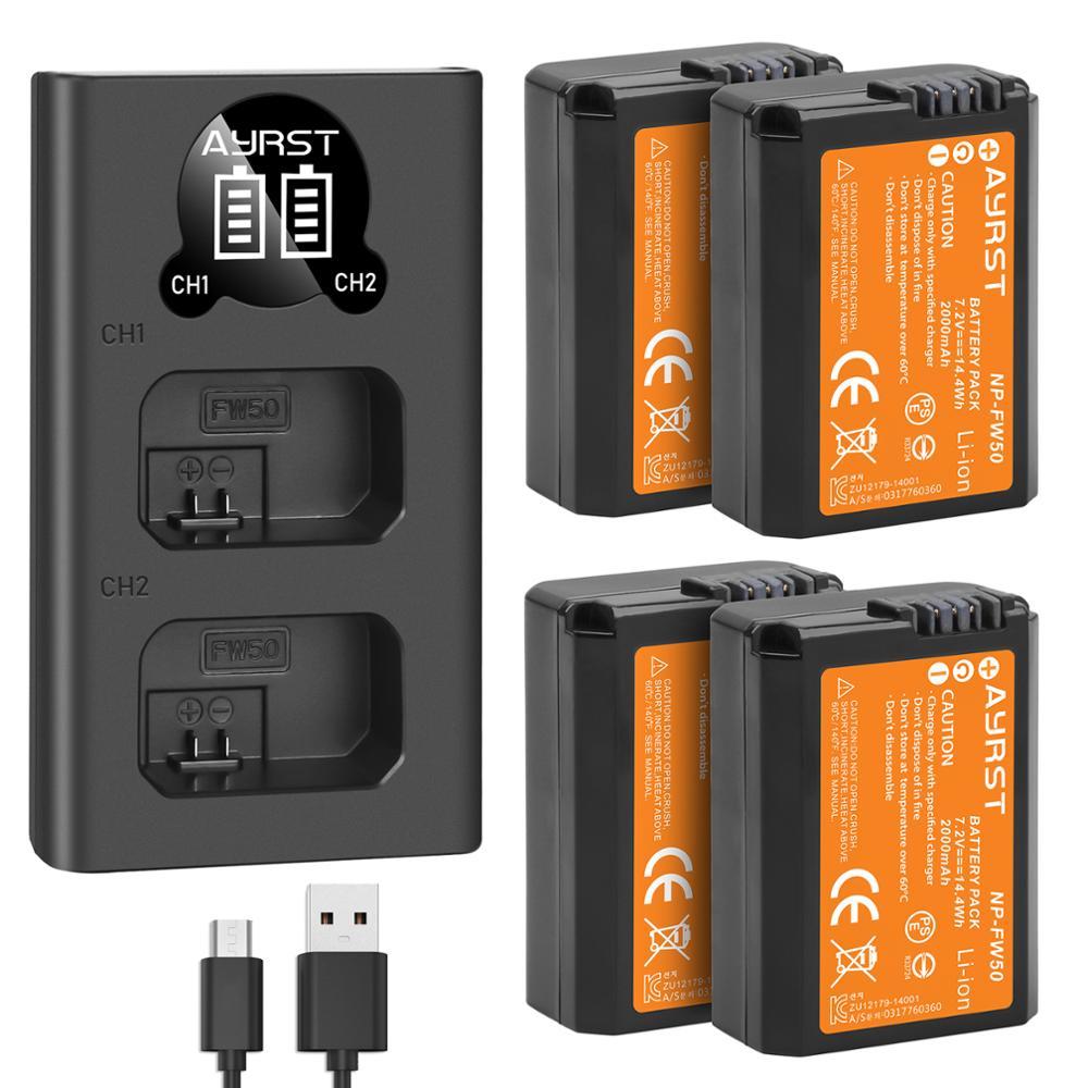 Batería NP-FW50 Cámara NP FW50 de 2000mah y Cargador USB LED Dual...