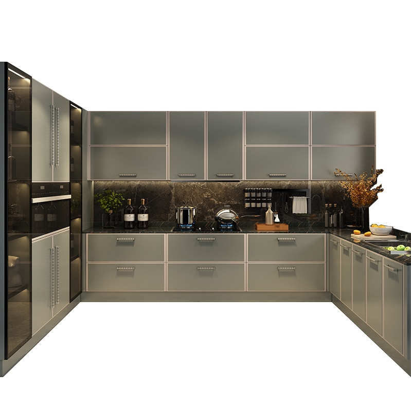 تخصيص أبواب خزانة المطبخ حسب الطلب خزائن المطبخ ضوء خزائن فاخرة الكوارتز خزائن كونترتوب