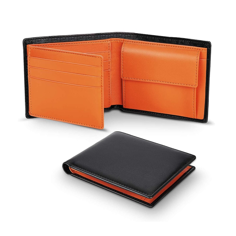 Hot Selling Wallets Mens Slim RFID Blocking Genuine Leather with Coin Pocket High Quality Short Mult