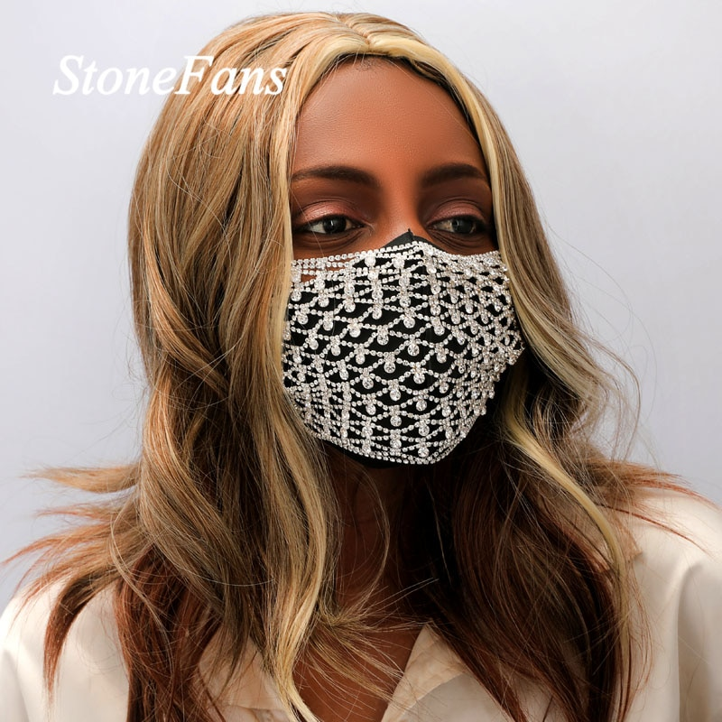 Stonefans moda Ojo de diamantes de imitación máscara cubierta de la joyería para las mujeres declaración Bling cuerpo cadena decoración de la máscara de fiesta en club nocturno
