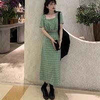 2021 summer new korean style slim fit short top retro high waist a line dress two piece suit for women