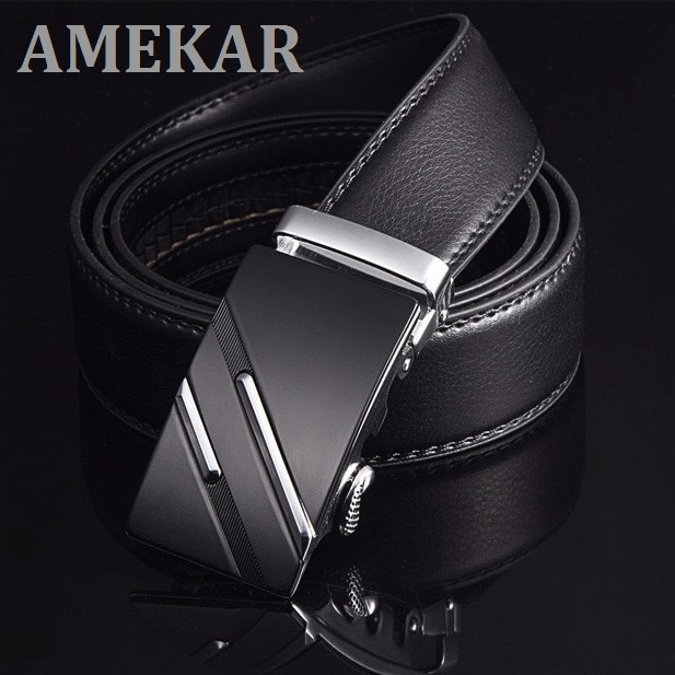 Free Shipping Mens Fashion Genuine Leather Belts  For Men High Quality Metal Automatic Buckle Strap Famous Brand Belt
