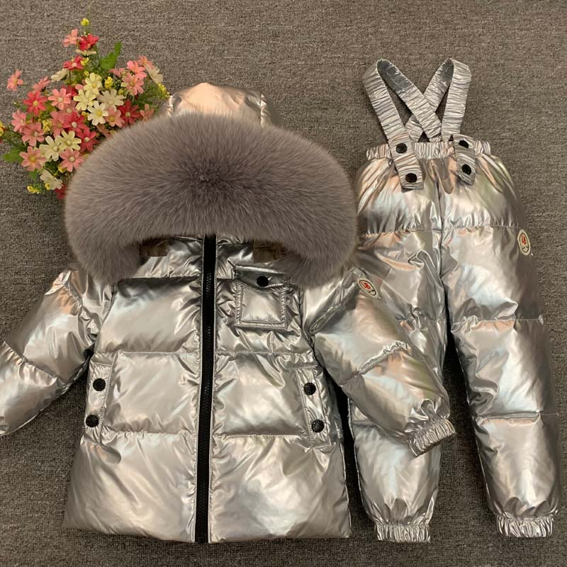 2021 Winter Kids Clothes Sets Fur Hooded Baby Girl Snow Suits Down Warm Toddler Boys Tracksuit Outdoor Children's Ski Clothing enlarge