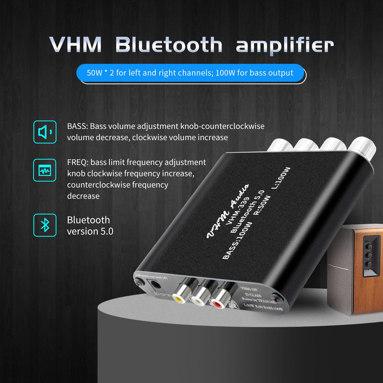 Bluetooth 5,0 TPA3116D2 HIFI amplificador Digital de potencia de canal 2,1 2*50W + 100W de potencia estéreo de Audio de clase D bajo Subwoofer amplificador