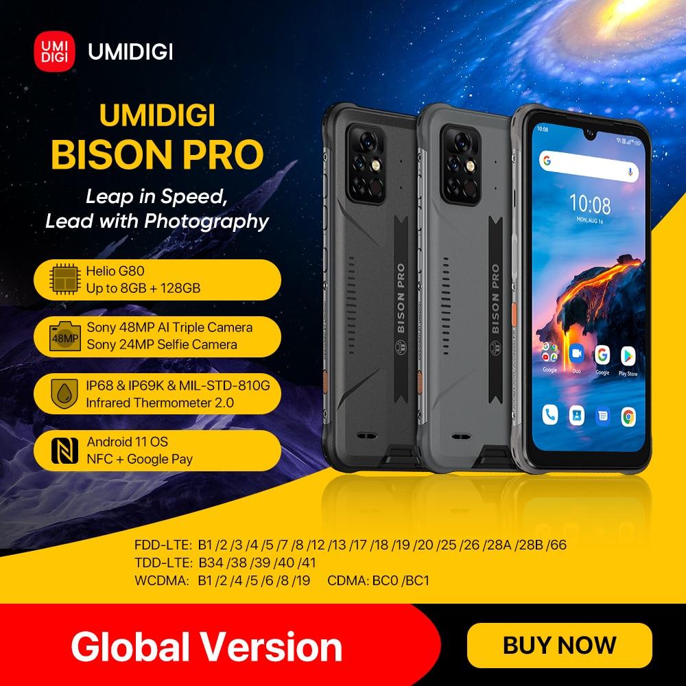 In Stock UMIDIGI BISON Pro Global Version Smartphone NFC 128GB IP68/IP69K Helio G80 48MP Camera 6.3