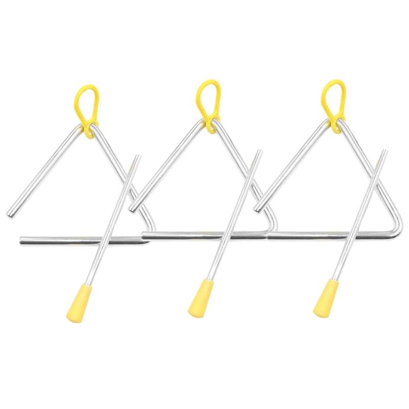 Zestaw instrumentów muzycznych trójkąt, ręcznie perkusyjny trójkąt dzieci Instrument muzyczny z Striker 3 Pack trójkąt 4 Cal