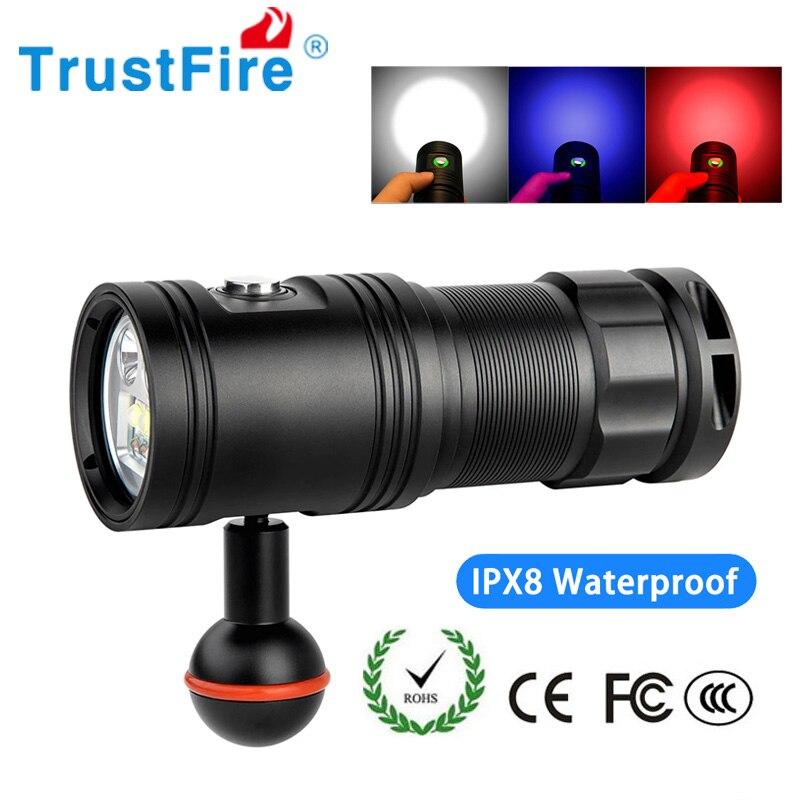 Trustfire DF30 linterna de vídeo de buceo profesional foto Video lámpara subacuática con interruptor de atenuación 32650 batería antorcha Luz