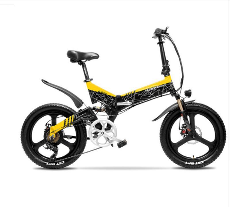 Bicicleta eléctrica plegable de 20 pulgadas, ligera, de dos ruedas, bicicleta eléctrica de 500W y 48V, roja/amarilla