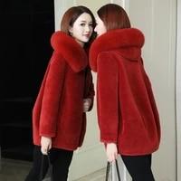 winter fashion womens coat new casual real fox fur collar hooded zipper women clothes cashmere women jacket ladies coats x370