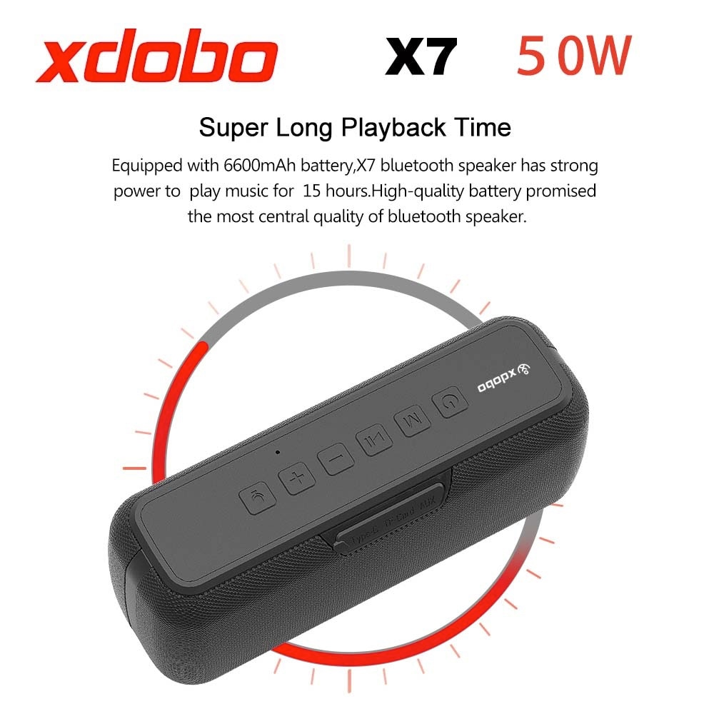 XDOBO X7 50W Bluetooth Speaker BT5.0 Portable Speaker IPX5 Waterproof 8-15H Playtime with Voice Assistant Type-C Port Subwoofer