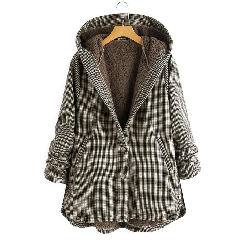 Женская зимняя куртка с капюшоном 2021, модная теплая верхняя одежда в клетку, свободная уличная одежда, женская одежда