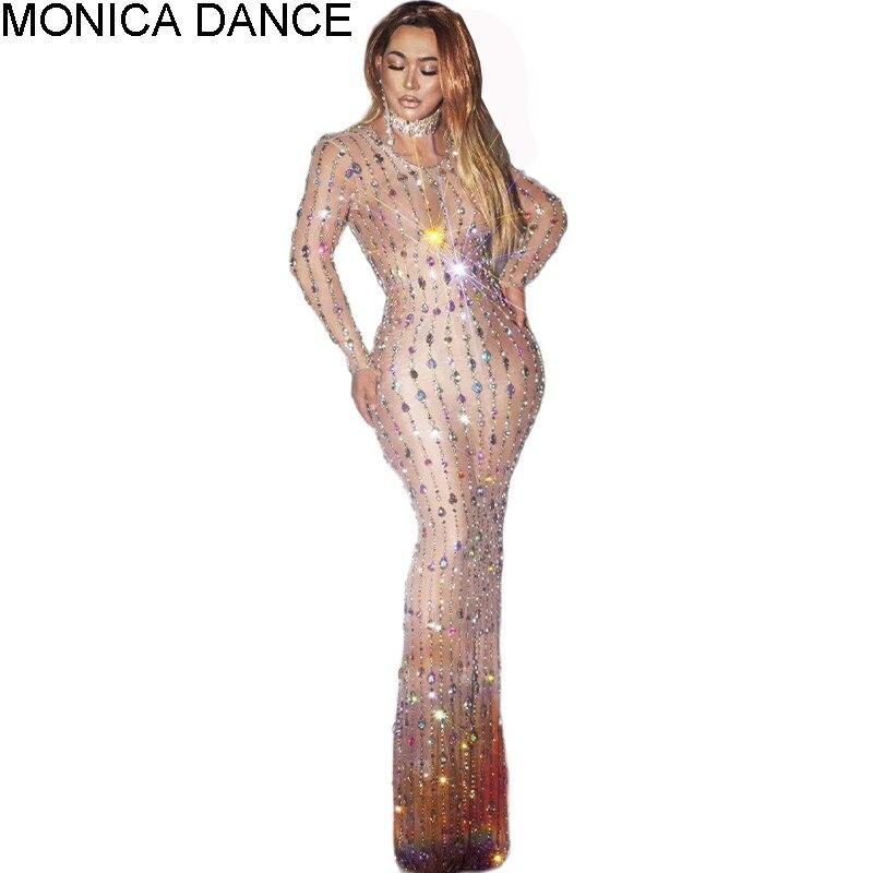 المرأة مثير سباركلي عارية الأسود ملهى ليلي حجر الراين كريستال فستان الحفلات مرونة عالية فستان المشاهير راقصة المرحلة ازياء