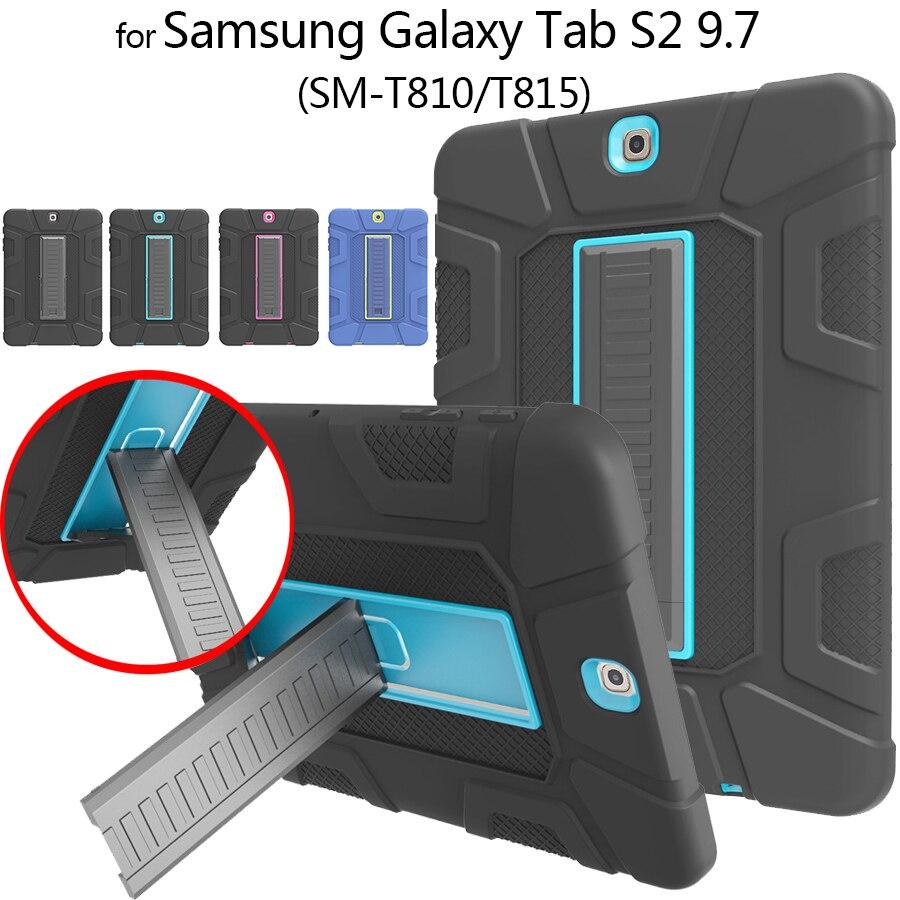 """Rugged Tablet Armor de funda para Samsung Galaxy Tab S2 9,7 """"T810 T813 T815 T819 niños a salvo de servicio pesado de silicona + PC proteger caso"""