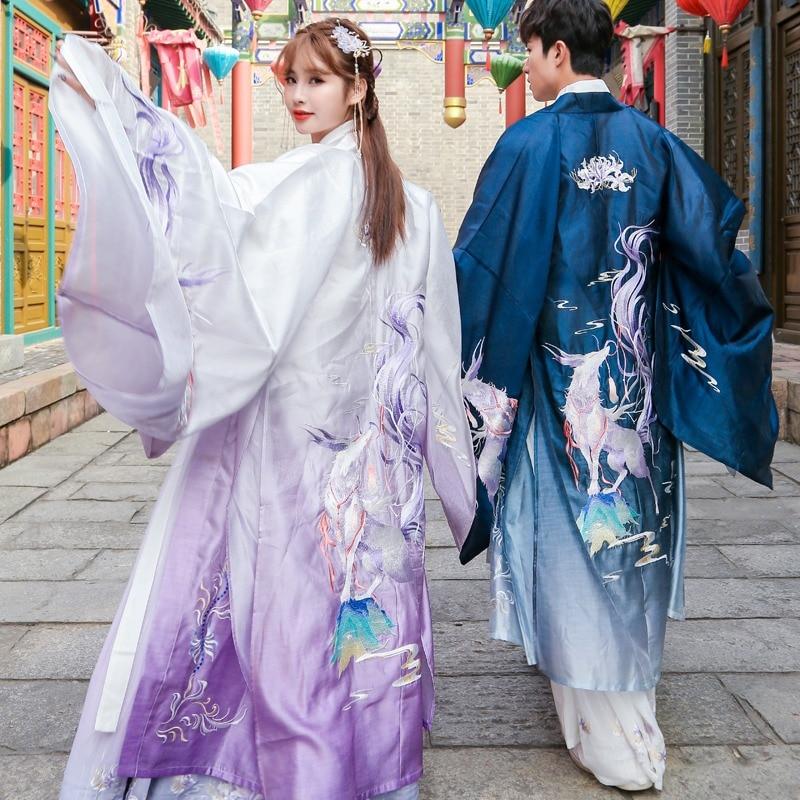 زي زوجين صيني تقليدي مطرز بالثعلب الأبيض ، ريترو ، هانفو محسّن ، للنساء/الرجال ، الجنية القديمة ، الأرجواني/الأزرق ، Hanfu DQL4330