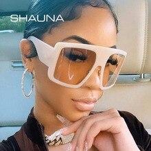 SHAUNA Metal Hinge Big Frames Square Women Sunglasses Fashion Double Colors Frame Gradient Shades UV